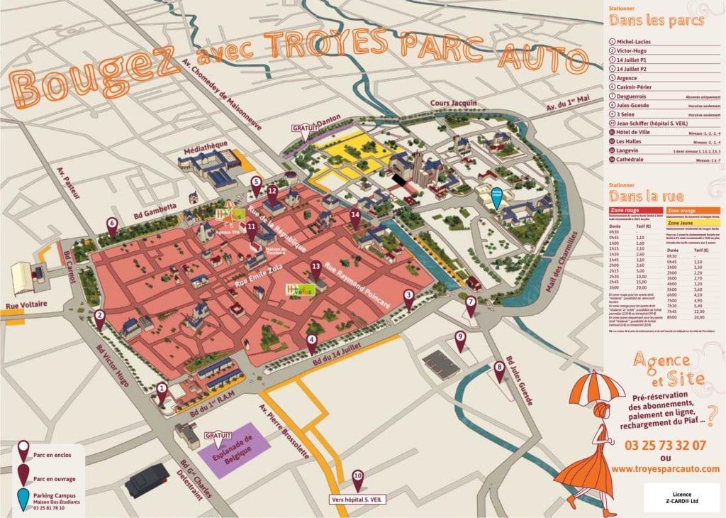 Plans des parkings du centre-ville de Troyes